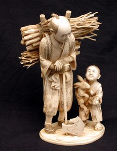 Fine Japanese carved ivory figure, of a woodsman , with large rolls of sticks on his back standing holding a long axe beside him stands a small boy holding a hare and a gourd, on a shaped naturalistic plinth, signed on inset red tablet. Le Morse, Asian Sculptures, Art Japonais, Bone Carving, Japan Art, Vintage Japanese, Chinese Art, Sculpture Art, Art Decor