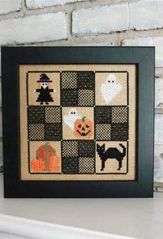 """""""Halloween Nine Square"""" is the title of this cross stitch pattern from Sekas & Company."""
