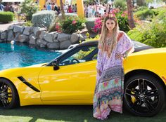The actress looks hippie chic at the McDonald's & Stingray Pool Party at the Bootsy Bellows Estate.
