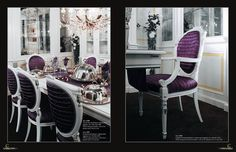 Luxusní italská jídelna v bílo fialovém provedení od Ceppi Style, více na: http://www.saloncardinal.com/galerie-ceppi-style-bdb