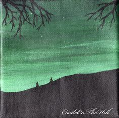 The Night Dances 1  Acrylic painting  4 x 4 by CastleOnTheHill