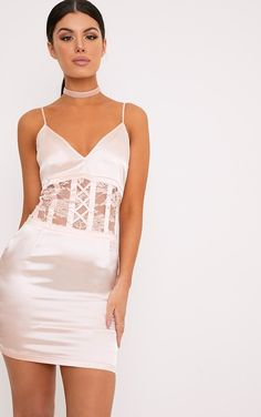Nude Satin Lace Corset Detail Bodycon DressGet that lust-worthy look with this dress. Featuring b...