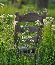 Chair, weathered in the Queen Anne's Lace. Country Charm, Rustic Charm, Country Farmhouse, Country Girls, Country Living, Vie Simple, Country Lifestyle, Farms Living, Gardens