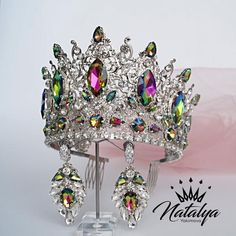 crown tiara Rainbow shining queen crown and earrings of crystals for your very special day. It is made of rainbow colors crystals. The crown has a universal size. I can make for you a se Crown Earrings, Crystal Earrings, Silver Earrings, Pageant Crowns, Tiaras And Crowns, Bridal Crown, Bridal Tiara, Women Jewelry, Ladies Jewelry