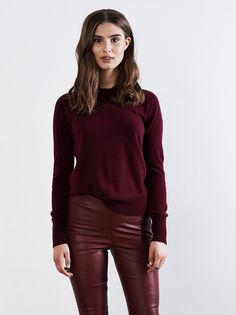 10513333694 Soft Goat Collage Sweater in Burgundy
