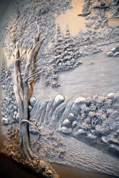 1 3d Wall Art, Mural Art, Wall Murals, Plaster Art, Plaster Walls, Wall Sculptures, Sculpture Art, Tadelakt, Stencil Painting
