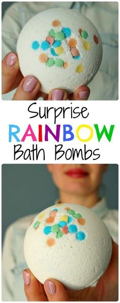 DIY Surprise Rainbow Bath Bombs.