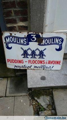 Utilisé: plaque émaillé les 3 moulins 1952 (Objets de publicité) - A vendre à Frameries La Bouverie