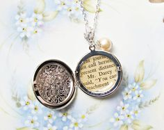 Mr Darcy Locket Necklace. Pink Glass Pearl. Upcycled by dspdavey, $36.00