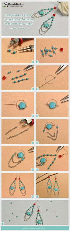 How to Make Plum Blossom Turquoise Beads Pendant Earrings Just with some turquoise beads, cross chains and red glass beads, you can easily make a pair of dangle earrings! #tutorial #DIY #pandahalldiy #earrings #pandahalljewelry #jewelry #promotion