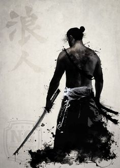 Shop for samurai art from the world's greatest living artists. All samurai artwork ships within 48 hours and includes a money-back guarantee. Choose your favorite samurai designs and purchase them as wall art, home decor, phone cases, tote bags, and more! Ronin Samurai, Samurai Warrior, Ninja Warrior, Japanese Drawing, Tattoo Samurai, Ronin Tattoo, Schrift Tattoos, Samurai Artwork, Japanese Warrior