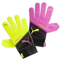 1e6e94c0f87e NEW Puma Evopower Soccer Goalie Gloves Neon Yellow Pink Size 7 Grip Tricks