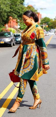 Envious Colourful Agbada Style For Slaying Green Dashiki Jacket/Dress Pants Set - New! Enjoy another two piece set from Tribal Groove while in stock. You can choose to wear it together or separately. African Dresses For Women, African Print Dresses, African Attire, African Wear, African Women, African Prints, African Style, African American Fashion, African Inspired Fashion