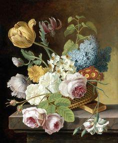 Jan Frans van Dael or Jean-François van Dael (1764-1840)  —  Flower Still Life with Roses, Tulips, Narcissi, and Other Flowers in a Basket on a Ledge  (900×1085)