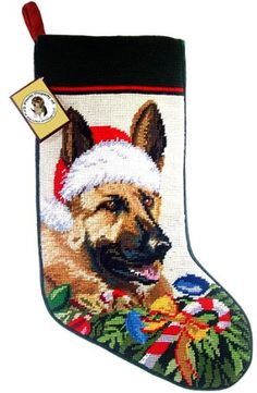 German Shepherd Dog Needlepoint Christmas Stocking ** To view further for this item, visit the image link.