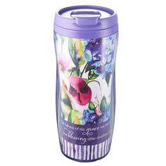 """Polymer Travel Mug """"Seeds of Love""""  Purple  Hand Wash - Do Not Microwave  * 12 Oz. Capacity * 7 Inch Tall * Non-Slip Base * Pop-Up Lid Feature * Fits Most Car & Truck Beverage Holders * Plastic * BPA Free / Food Grade Safe  PRICE: R120 per Mug."""