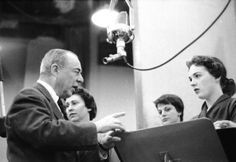 "Richard Rodgers, Alice Ghostley, Kaye Ballard, Julie Andrews in rehearsals for ""Cinderella"", 1957"