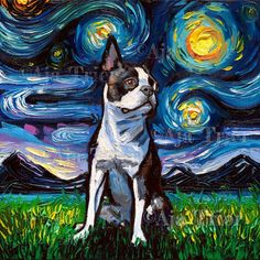 Boston Terrier Portrait Art Starry Night Art Print dog picture by Aja choose size, Photo Paper Watercolor Paper or Stretched canvas artwork Watercolor Print, Watercolor Paper, Canvas Artwork, Canvas Frame, Brown Boston Terrier, Boston Terrier Art, Cãezinhos Bulldog, Starry Night Art, Starry Nights