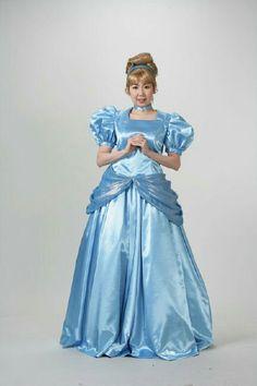 Sky blue satin ball gown