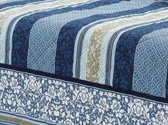 Kit: 1 Cobre-leito Casal + 2 Porta-travesseiros Percal 200 fios - Granada Azul - Dui Design | Vida e Cor