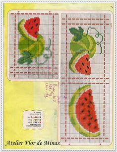 Atelier Flor de Minas: Quem gosta de melancia? Cross Stitch Fruit, Cross Stitch Kitchen, Cross Stitch Boards, Loom Beading, Beading Patterns, Cross Stitch Designs, Cross Stitch Patterns, Cross Stitch Embroidery, Hand Embroidery