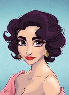 Elizabeth Taylor drawn by a Disney animator... So cute!