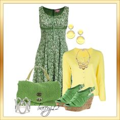 """""""Greens and Yellow"""" by traceyj12 on Polyvore"""