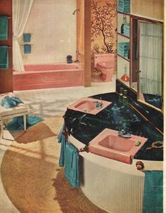 "1961 AMERICAN-STANDARD vintage magazine advertisement ""Bathrooms Are Beauty Rooms"" ~ Bathrooms Are Beauty Rooms these days and every home needs at least two ... each one sparkling with new-idea products. American-Standard Plumbing and Heating Division ~"