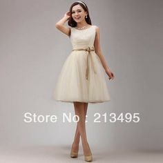 For Alyssa for Carla's wedding??!!   teen girl events sexy vintage champagne tulle korean prom ball gowns gown lady dresses women women's dress short 2014 W1134 US $45.80 - 55.80