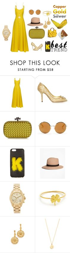 """Golden yellow..."" by jamuna-kaalla ❤ liked on Polyvore featuring Rosie Assoulin, Dolce&Gabbana, Bottega Veneta, Fendi, Brooks Brothers, Michael Kors, Jennifer Meyer Jewelry, Oscar de la Renta, Kate Spade and vintage"