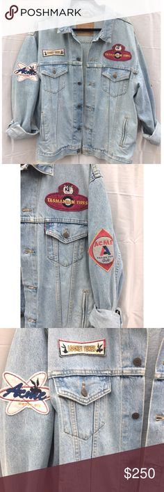 RARE Vintage Looney Tunes Patch Levi Denim Jacket Super rare one of a kind unique jacket! vintage! Size XL, fits ones size fits most if you like the oversized look. denim levi's jacket tag #70507-0311. jacket is in amazing condition, the patches are a little worn, some lightly stained or peeling off on the edges but can be re-sewn on overall No significant flaws still in really good condition. Patch on each sleeve, two in front tasmanian tires looney tunes bugs bunnie race car large patch on…
