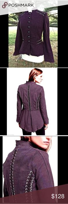 """Free People purple plum Victorian Lace Up Jacket S Free People purple plum Victorian Lace Up Jacket   lace lined long peplum with stretch Diamond jacquard military style high low jacket with silver grommet and lace-up detailing. Raw lace trim.    New With Tags  *   Size:  S  retail price:  $168.00  *98% Cotton  *2% Spandex  *Machine Wash Cold  *Import   Measurements: 17"""" under arm to arm (34"""" around) 14"""" from shoulders to shoulder in back 30"""" around waist 24"""" long arms 22"""" long in front…"""