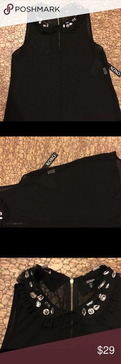 XOXO SHEER RHINESTONE NWT $49 BLACK SLEEVELESS TOP Jeweled blouse XOXO Tops Blouses