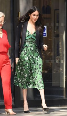 Floral green dress with blazer.  Love Megan Markle's look. Click to find the pieces to replicate this look
