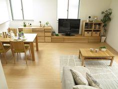 幅2m40㎝の大型テレビボードと幅1m50㎝のサイドボードと組み合わせた幅3m90㎝の家具をご紹介!