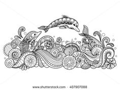 Hand drawn zentangle three dolphins with scrolling sea wave for coloring book…