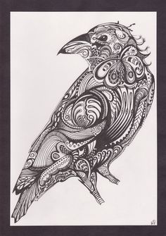 Crow by KawaiiMoogle on DeviantArt Doodles Zentangles, Zentangle Patterns, Zentangle Animal, Paisley, Raven Art, Crows Ravens, Colouring Pages, Coloring, Bird Art