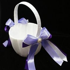 Flower Girl Basket With Double Ribbons And Faux Pearl – AUD $ 17.15