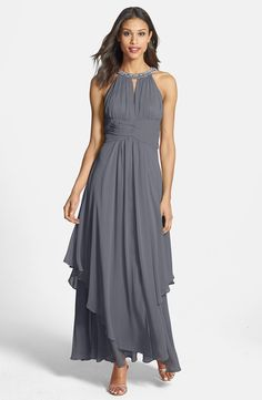 Embellished Tiered Chiffon Halter Gown