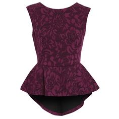 <p>Peplum top with dramatic fish tail styling in an elegant lace printed bonded scuba. Stunning fuchsia pink and black colourway. Beautiful teamed with the matching pencil skirt for a stand out co-ord set.</p>