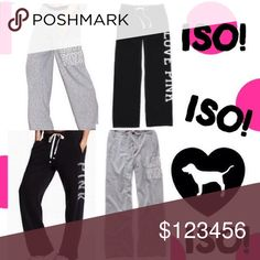 ISO VS PINK PANTS😩 Looking for these grey & black VSPINK bf pants....size LG can do MED if they're big PINK Victoria's Secret Pants