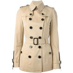 Burberry London double breasted trench coat ($985) ❤ liked on Polyvore featuring outerwear, coats, jackets, coats & jackets, burberry, cotton coat, double breasted coat, burberry coat, cotton trench coat and long sleeve coat