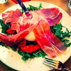 I absolutely love fresh mozzarella di bufala with prosciutto crudo :) A specialty in the Campania region, Italy