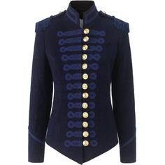 Pinky Laing Navy Velvet Military Jacket (3.215 BRL) ❤ liked on Polyvore featuring outerwear, jackets, tops, coats, coats & jackets, navy blue, blue military jacket, field jacket, velvet jacket and navy jacket