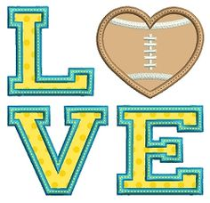 Love Football Applique - 3 Sizes! | What's New | Machine Embroidery Designs | SWAKembroidery.com Embroidalot