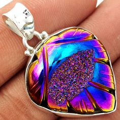 Carved Window Druzy 925 Sterling Silver Pendant Jewelry CWDP230 - JJDesignerJewelry