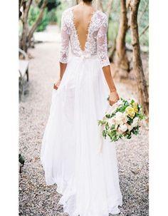 Robe de mariée dentelle dos nu - 30 robes de mariée en dentelle repérées sur Pinterest - Elle