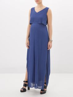 MAXI MATERNITY DRESS, Twilight Blue