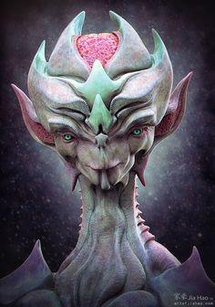 The Strategist- by Jia Hao - on Artstation Alien Concept Art, Creature Concept Art, Creature Design, Humanoid Creatures, Alien Creatures, Mythical Creatures, Alien Character, Character Art, Character Design