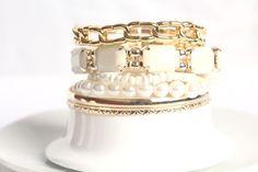Shiny Temperamental Gemstone Multilayer Charm White Bracelets for Women
